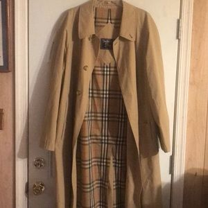 Burberry Mens 46R Nova Check Lined Trench Coat
